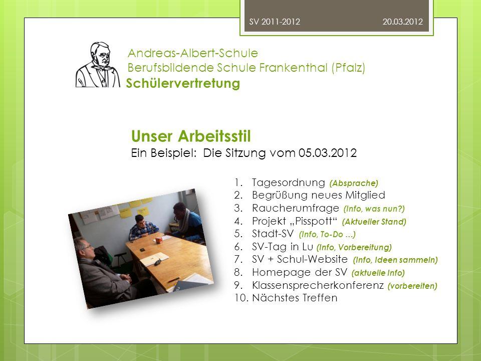 20.03.2012 Andreas-Albert-Schule Berufsbildende Schule Frankenthal (Pfalz) Schülervertretung.