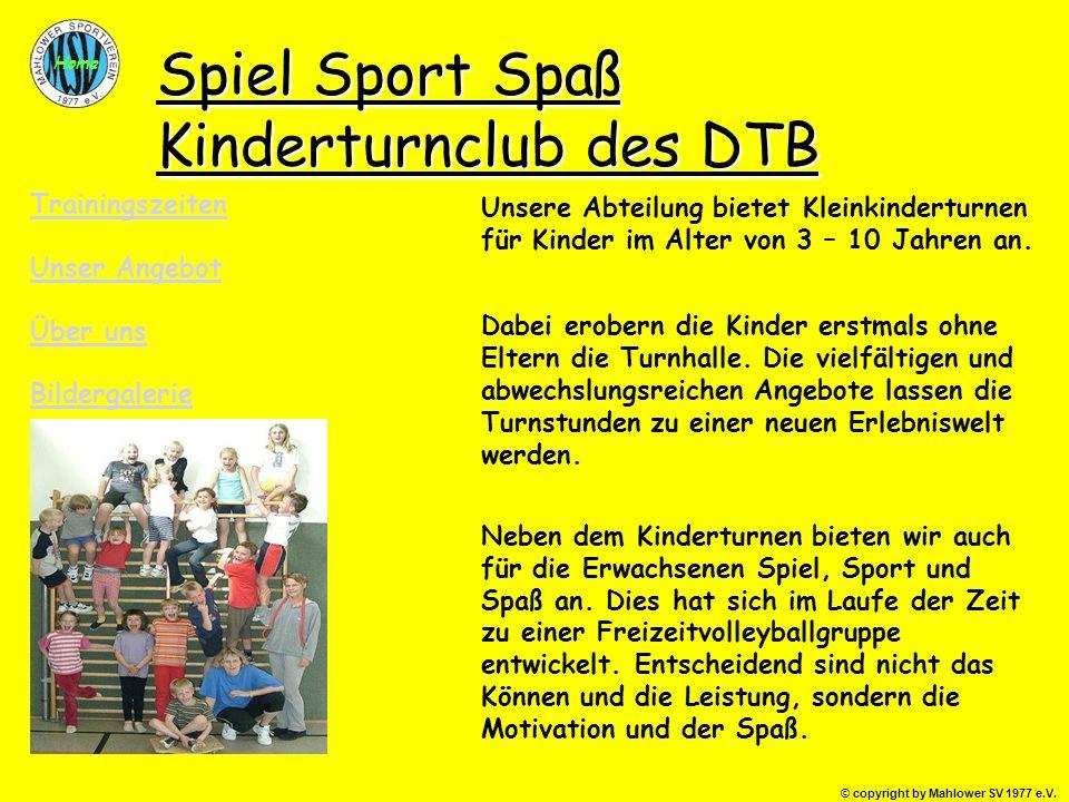 Spiel Sport Spaß Kinderturnclub des DTB