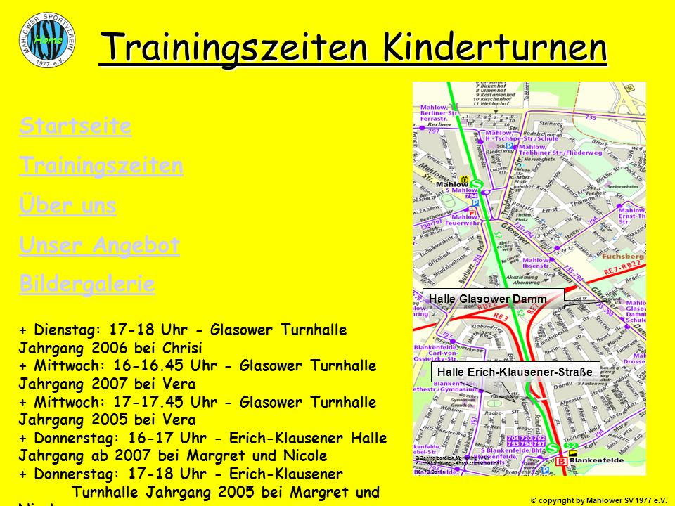 Trainingszeiten Kinderturnen