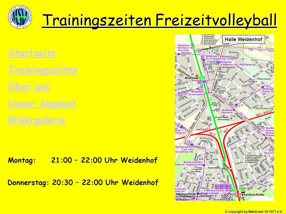 Trainingszeiten Freizeitvolleyball