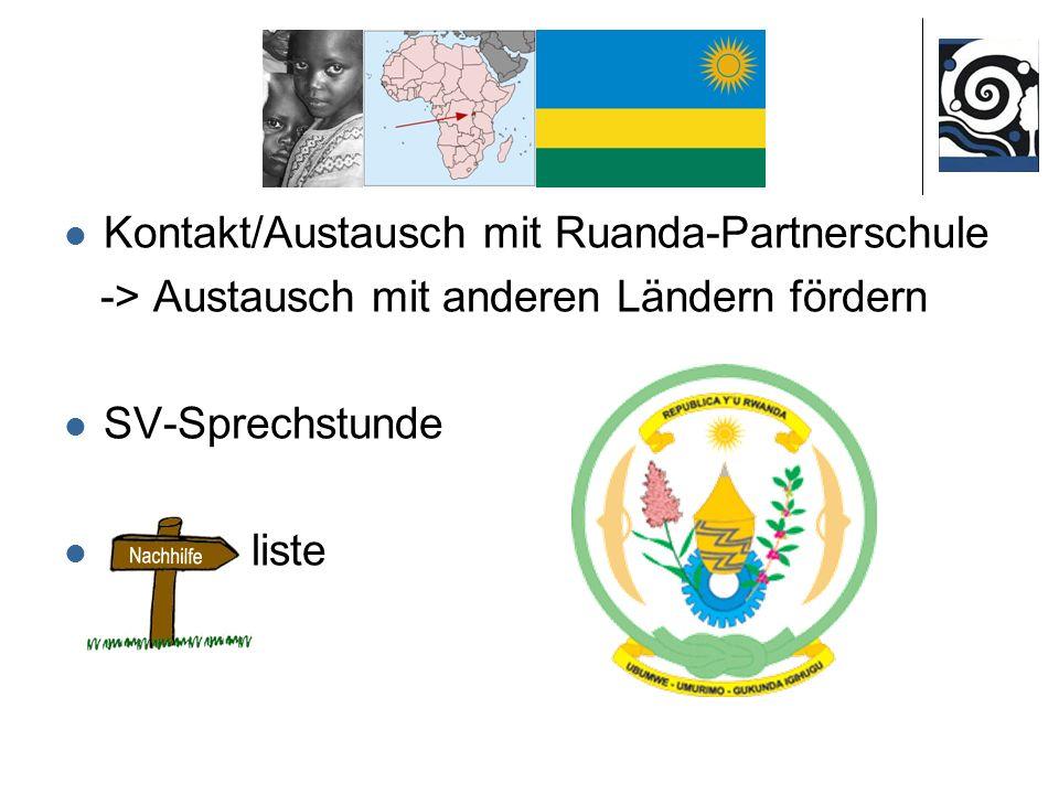Kontakt/Austausch mit Ruanda-Partnerschule