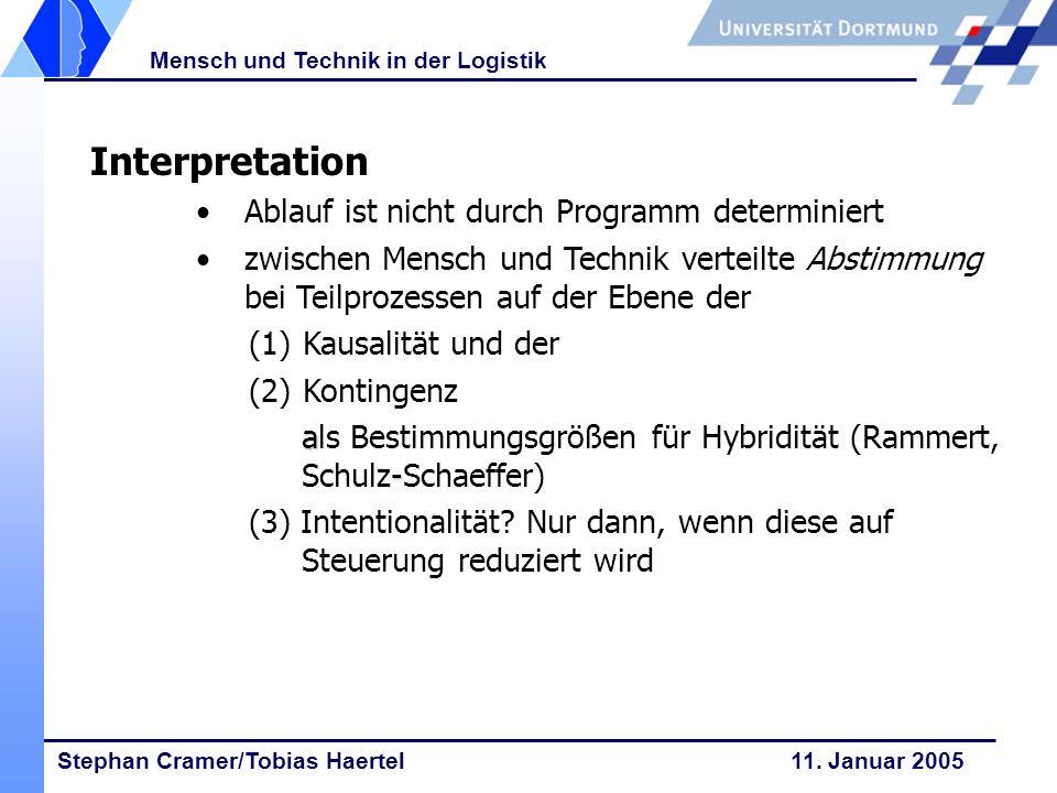 Interpretation Ablauf ist nicht durch Programm determiniert