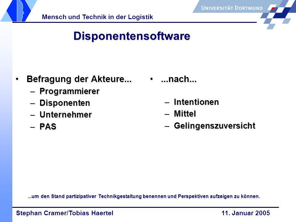 Disponentensoftware Befragung der Akteure... ...nach... Programmierer