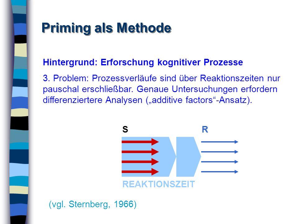 Priming als Methode Hintergrund: Erforschung kognitiver Prozesse
