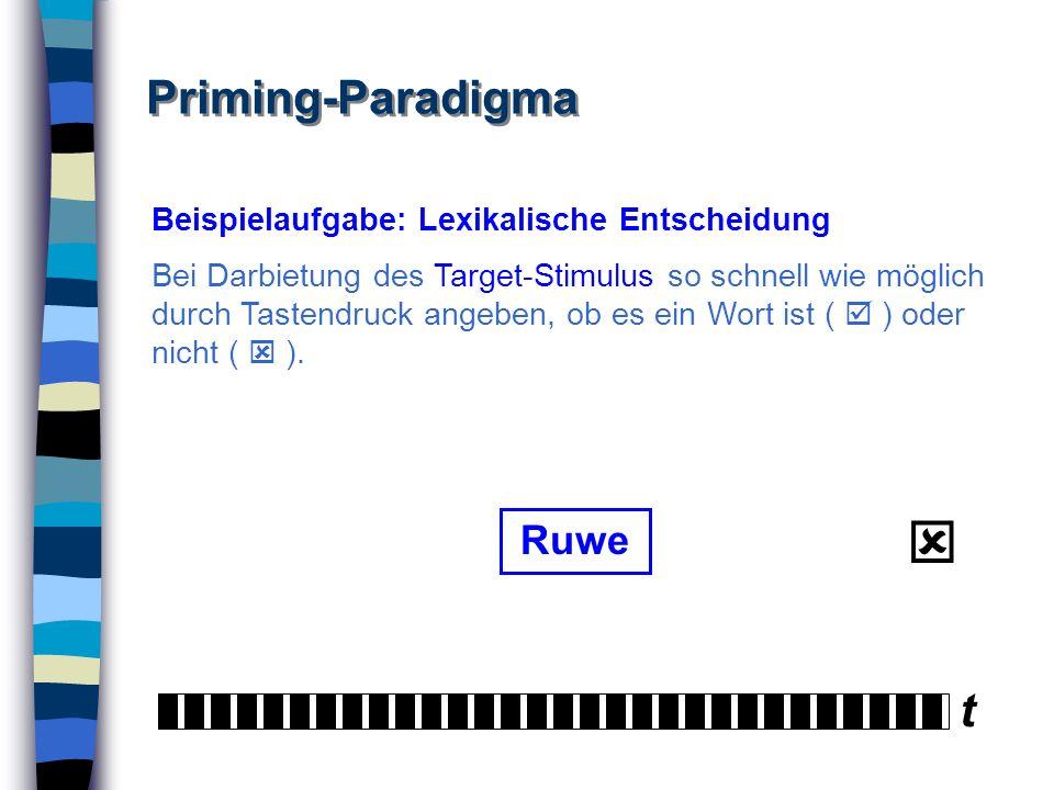  Priming-Paradigma t Ruwe Beispielaufgabe: Lexikalische Entscheidung