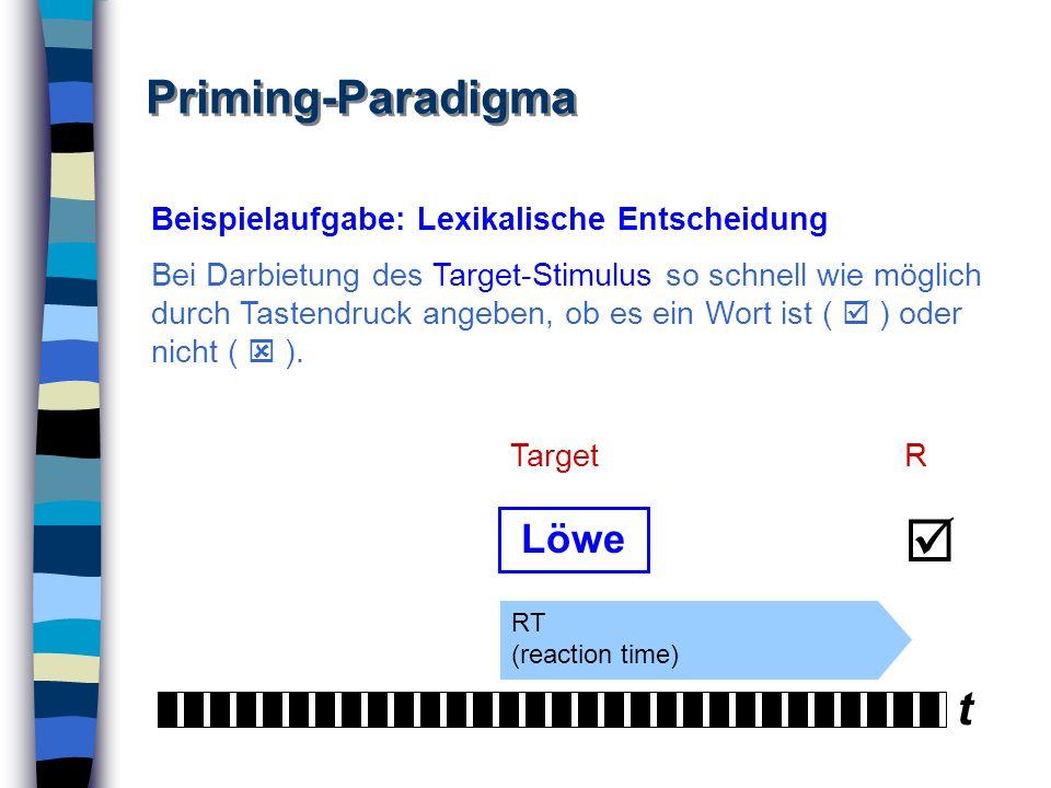  Priming-Paradigma t Löwe Beispielaufgabe: Lexikalische Entscheidung