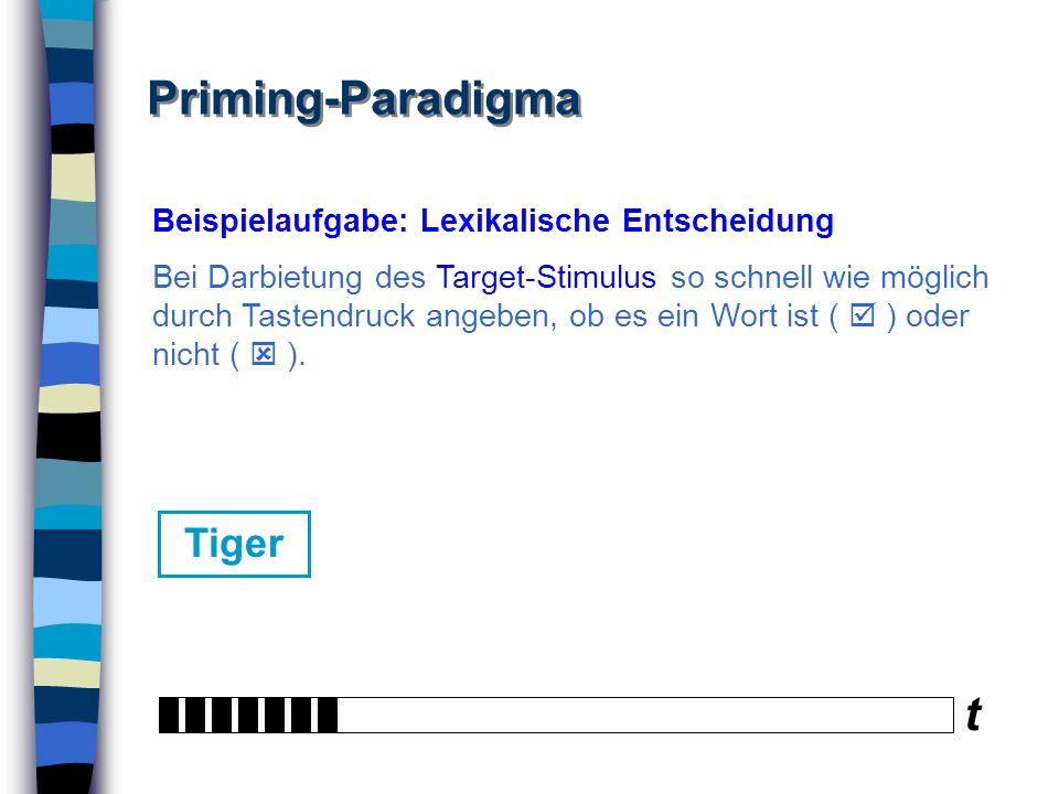Priming-Paradigma t Tiger Beispielaufgabe: Lexikalische Entscheidung