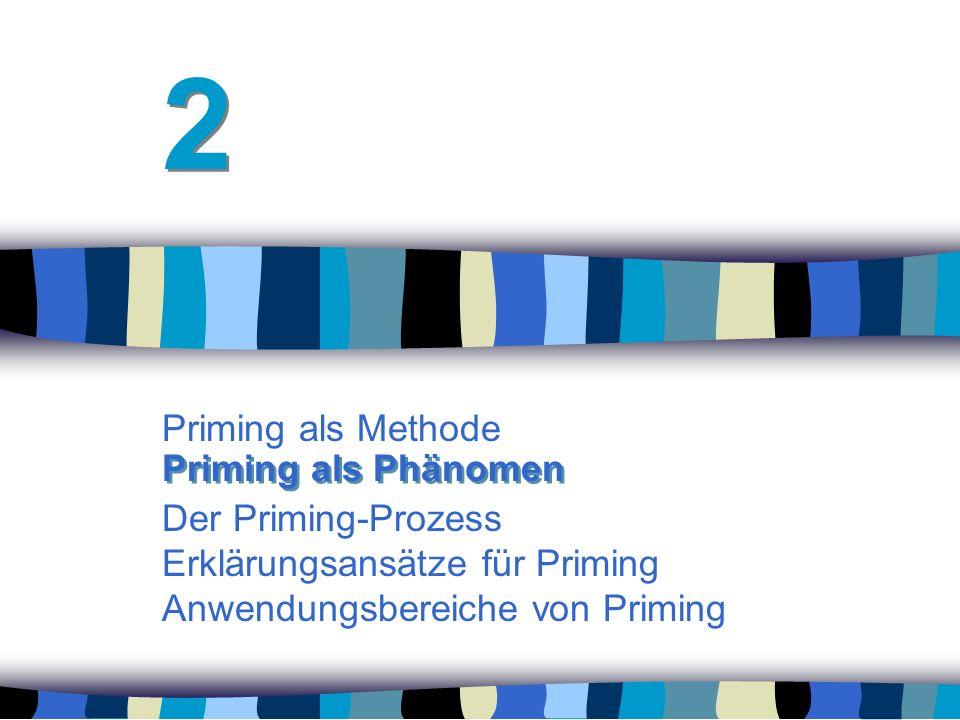 2 Priming als Methode Der Priming-Prozess Erklärungsansätze für Priming Anwendungsbereiche von Priming.