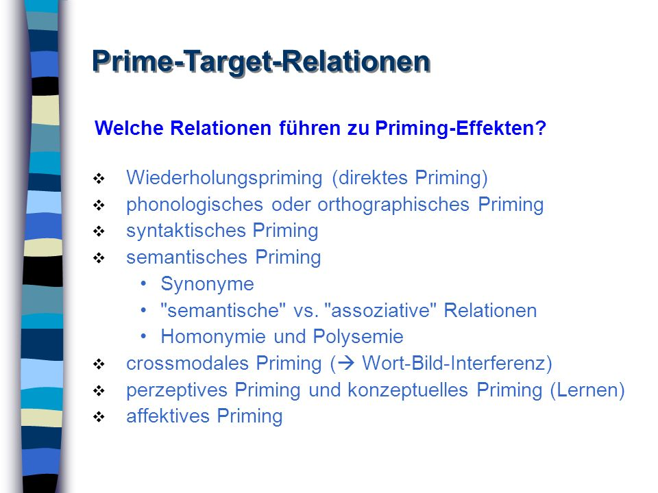 Prime-Target-Relationen