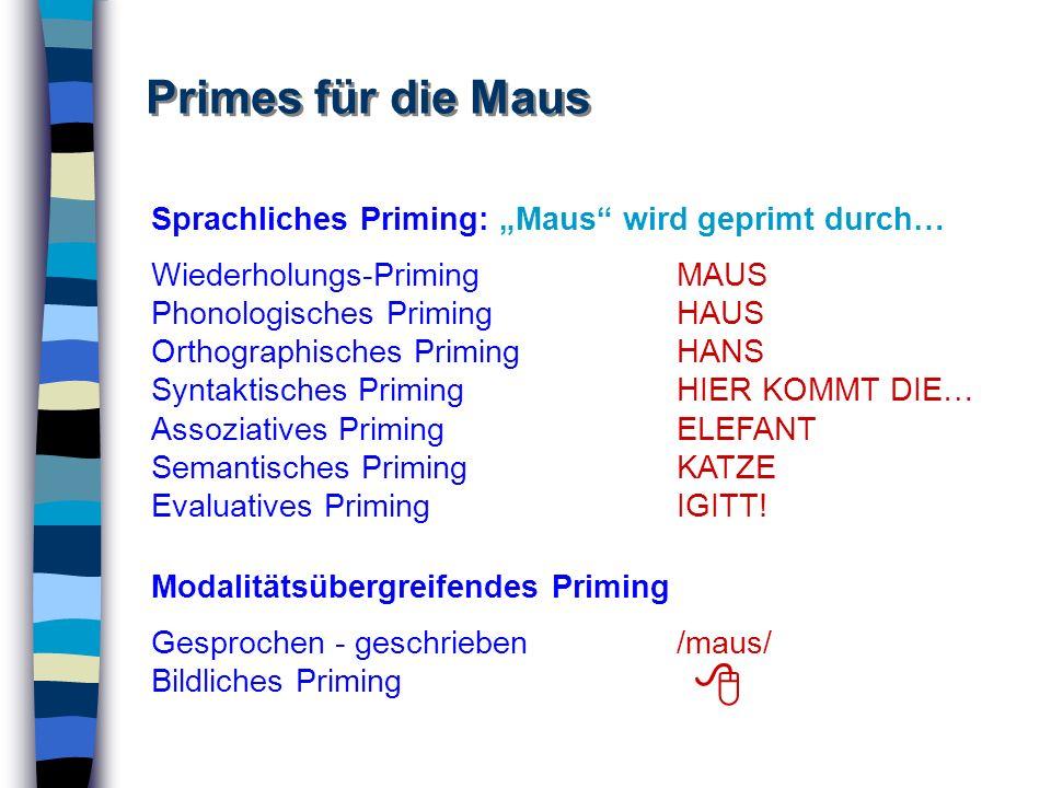 """ Primes für die Maus Sprachliches Priming: """"Maus wird geprimt durch…"""