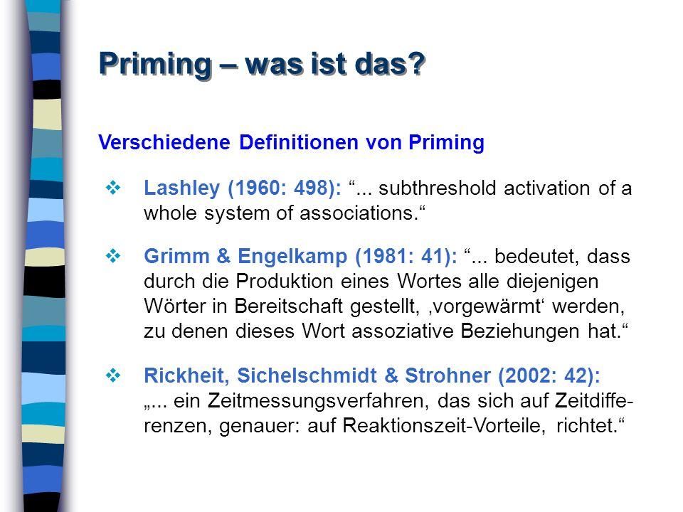 Priming – was ist das Verschiedene Definitionen von Priming 