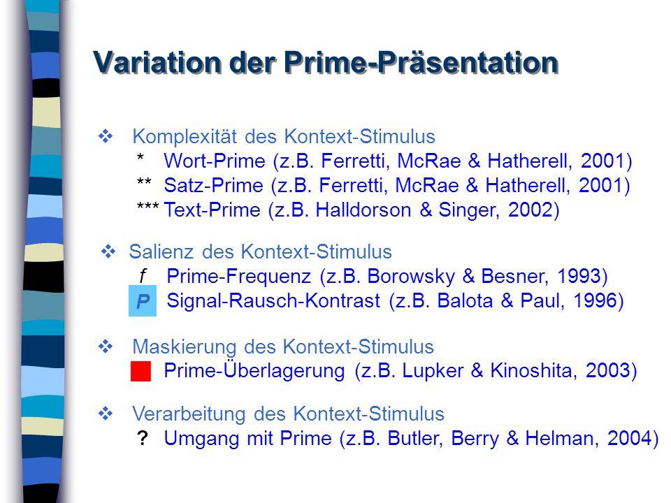 Variation der Prime-Präsentation