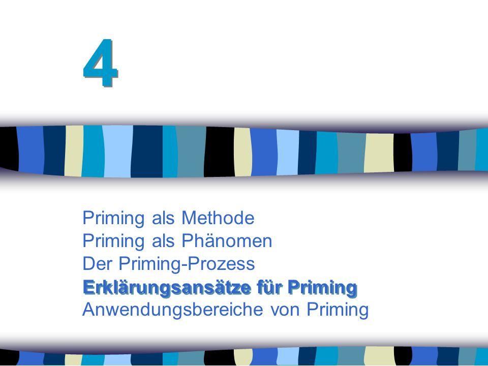 4 Priming als Methode Priming als Phänomen Der Priming-Prozess Anwendungsbereiche von Priming.