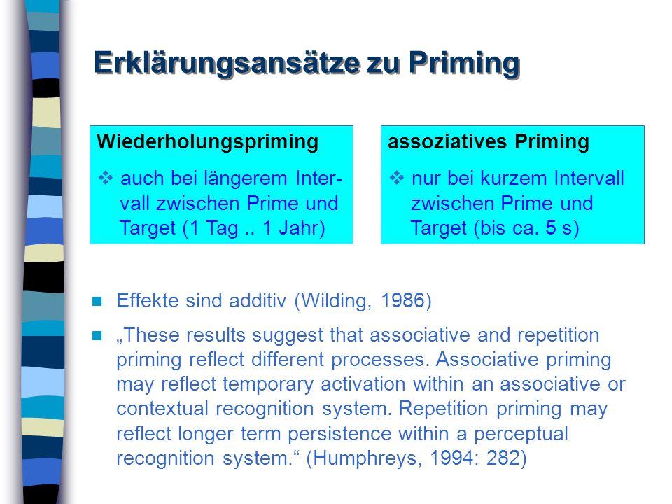Erklärungsansätze zu Priming