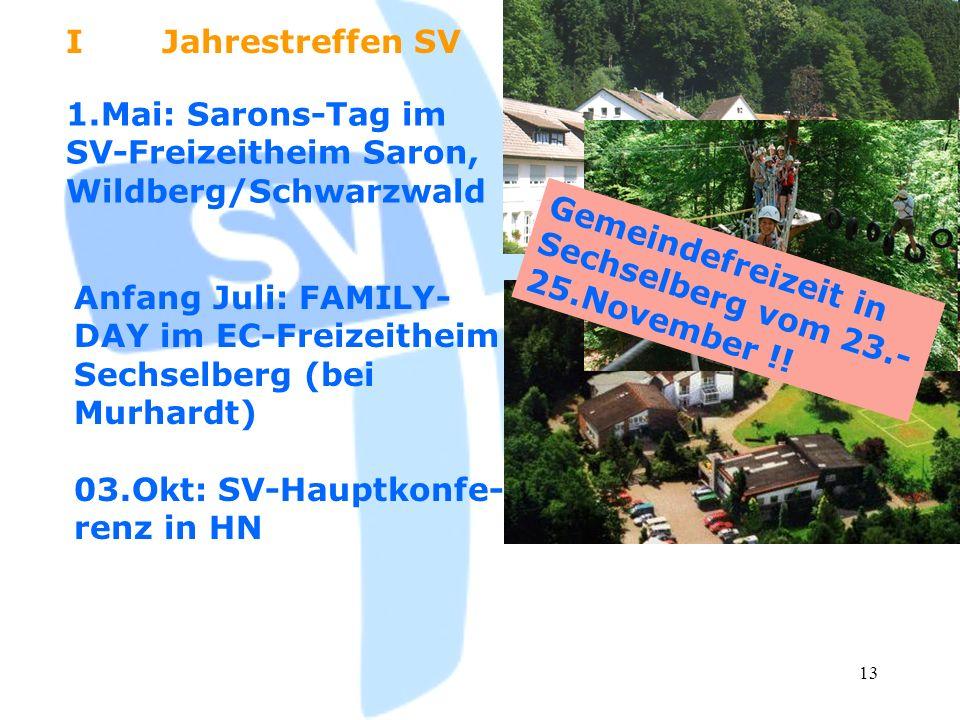 I Jahrestreffen SV 1.Mai: Sarons-Tag im SV-Freizeitheim Saron, Wildberg/Schwarzwald. Gemeindefreizeit in Sechselberg vom 23.-25.November !!