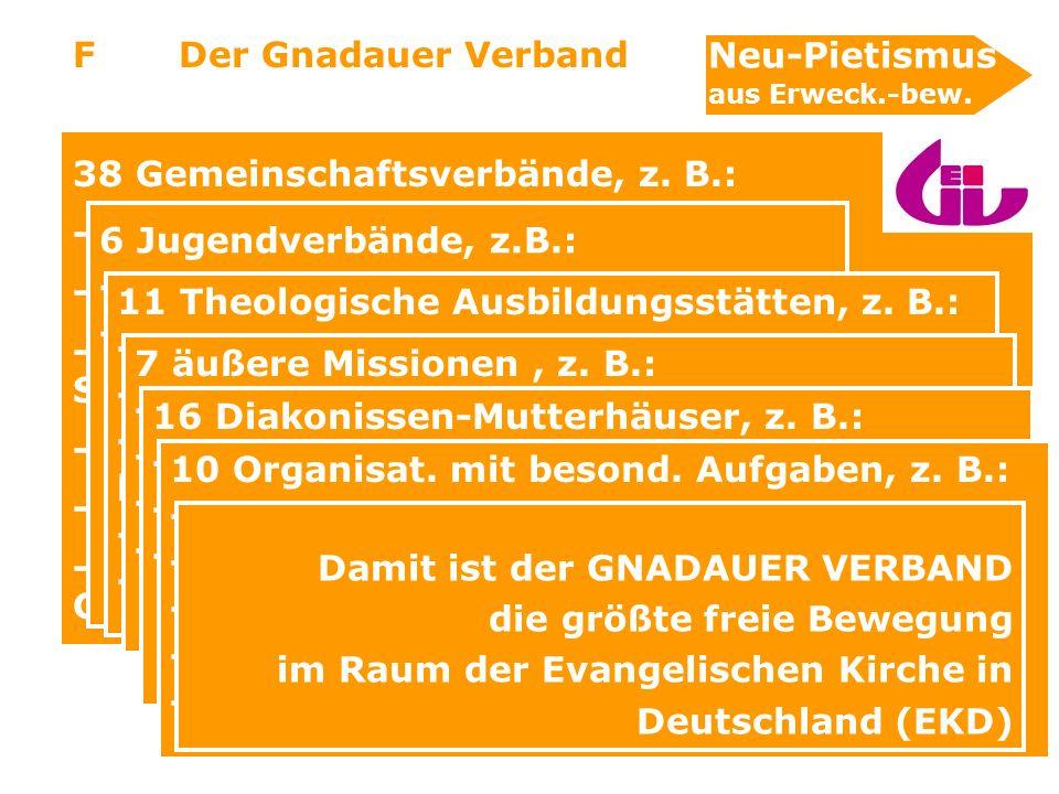 38 Gemeinschaftsverbände, z. B.: - Chrischona-Gesellschaft
