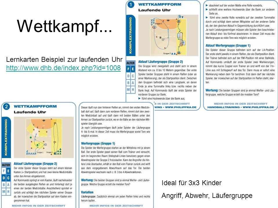 Wettkampf... Lernkarten Beispiel zur laufenden Uhr http://www.dhb.de/index.php id=1008. Ideal für 3x3 Kinder.