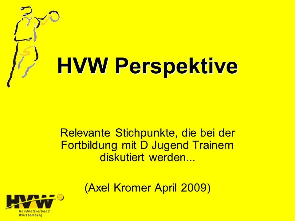 HVW Perspektive Relevante Stichpunkte, die bei der Fortbildung mit D Jugend Trainern diskutiert werden...
