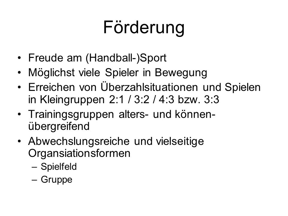 Förderung Freude am (Handball-)Sport