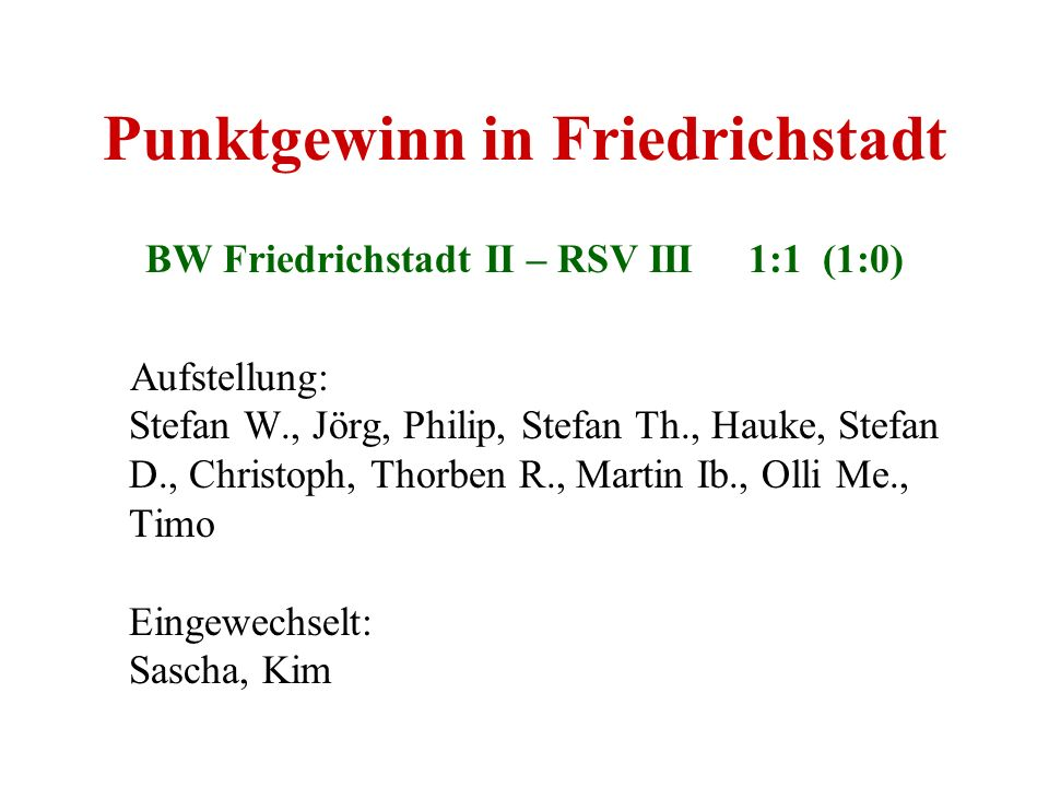Punktgewinn in Friedrichstadt