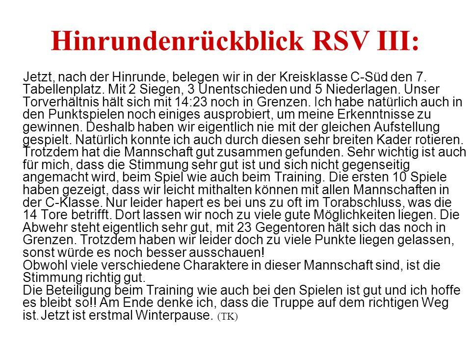 Hinrundenrückblick RSV III: