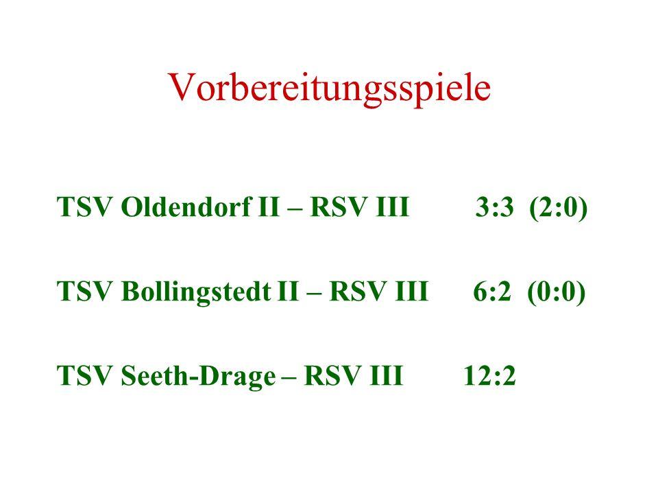 Vorbereitungsspiele TSV Oldendorf II – RSV III 3:3 (2:0)