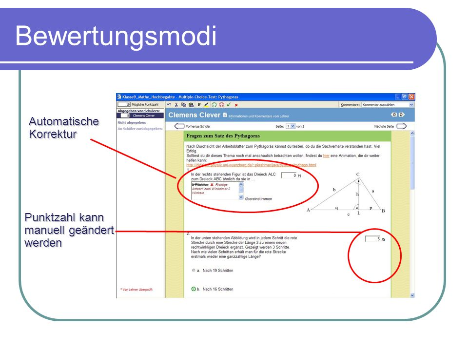 Bewertungsmodi Automatische Korrektur Punktzahl kann manuell geändert