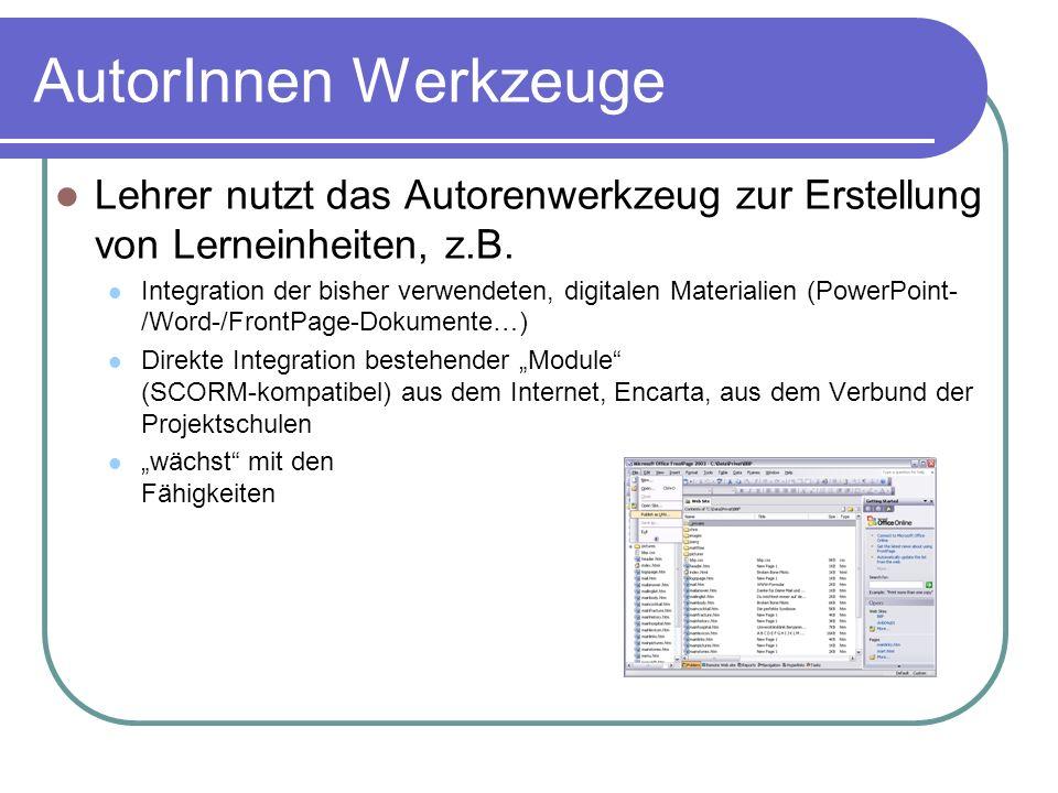 AutorInnen WerkzeugeLehrer nutzt das Autorenwerkzeug zur Erstellung von Lerneinheiten, z.B.