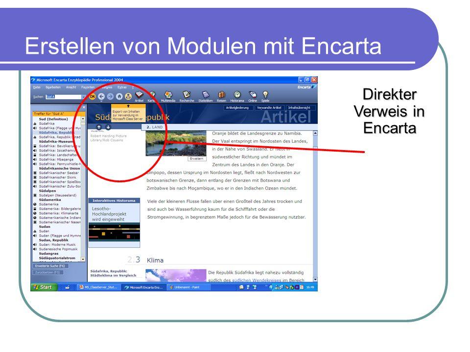 Erstellen von Modulen mit Encarta