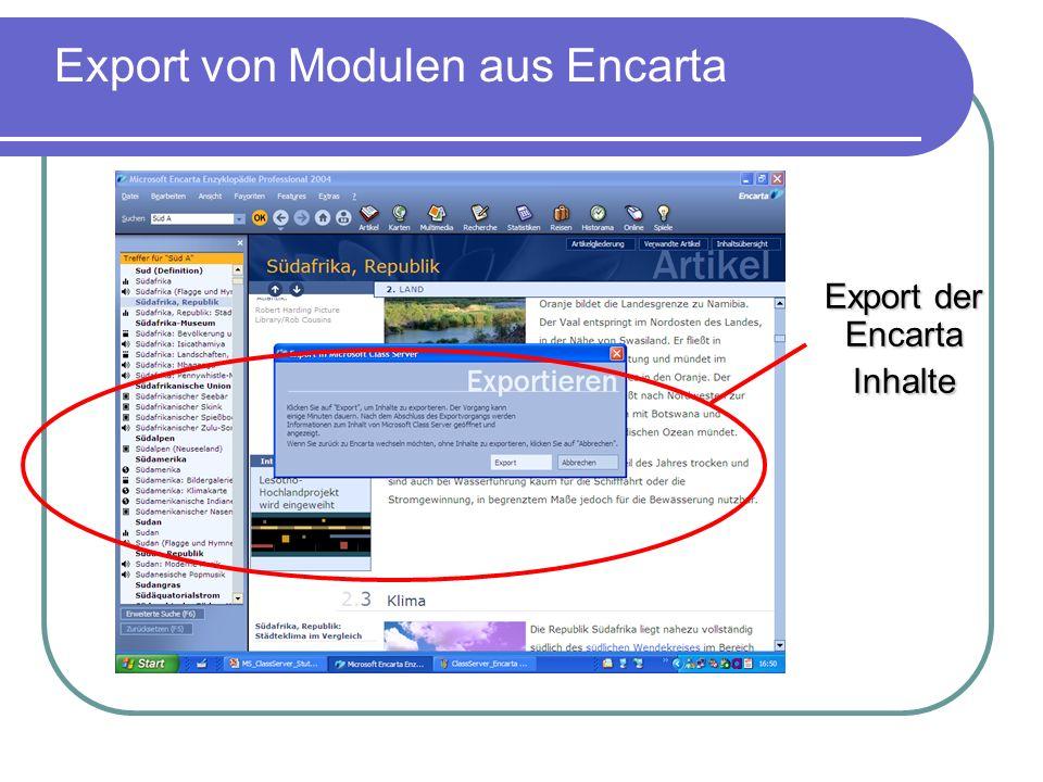 Export der Encarta Inhalte