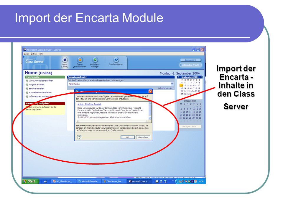 Import der Encarta - Inhalte in den Class Server