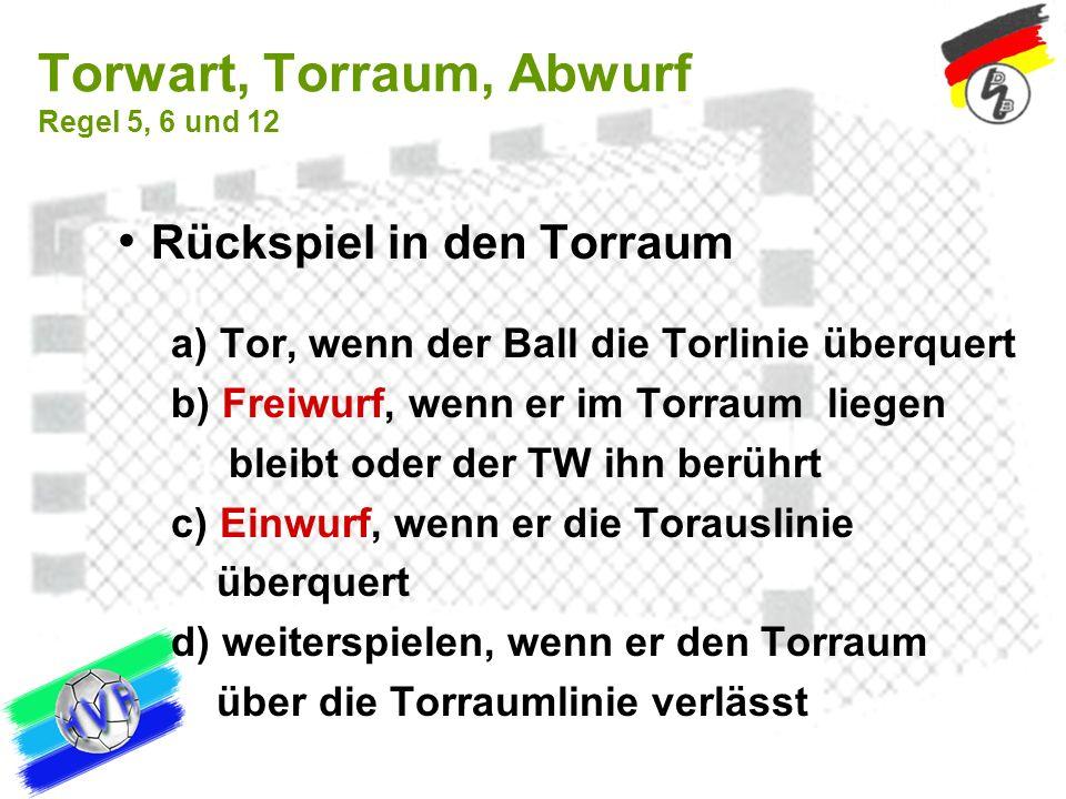 Torwart, Torraum, Abwurf Regel 5, 6 und 12