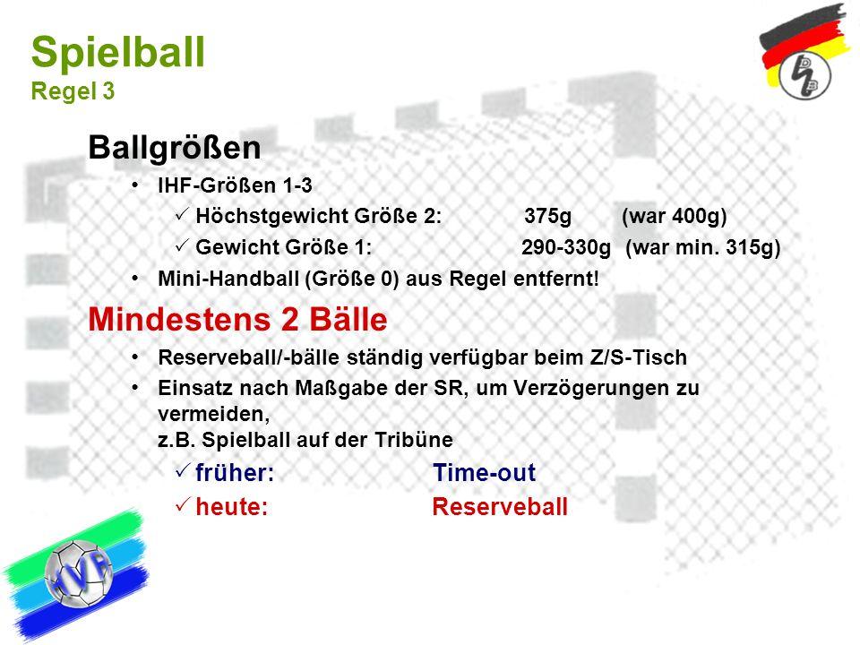 Spielball Regel 3 Ballgrößen Mindestens 2 Bälle früher: Time-out