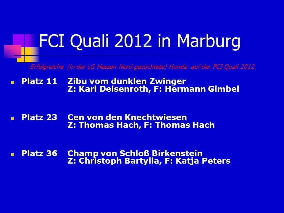 FCI Quali 2012 in MarburgErfolgreiche (in der LG Hessen Nord gezüchtete) Hunde auf der FCI Quali 2012.