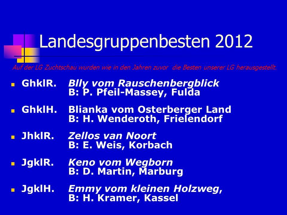 Landesgruppenbesten 2012Auf der LG Zuchtschau wurden wie in den Jahren zuvor die Besten unserer LG herausgestellt.