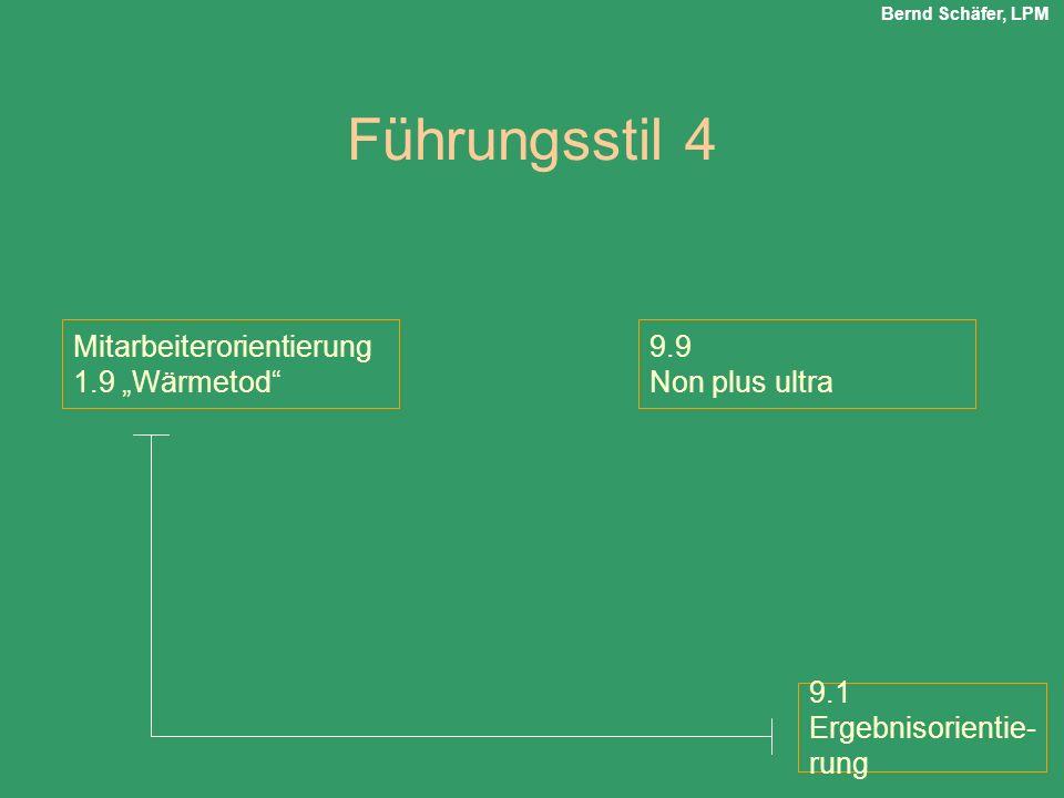 """Führungsstil 4 Mitarbeiterorientierung 1.9 """"Wärmetod 9.9"""