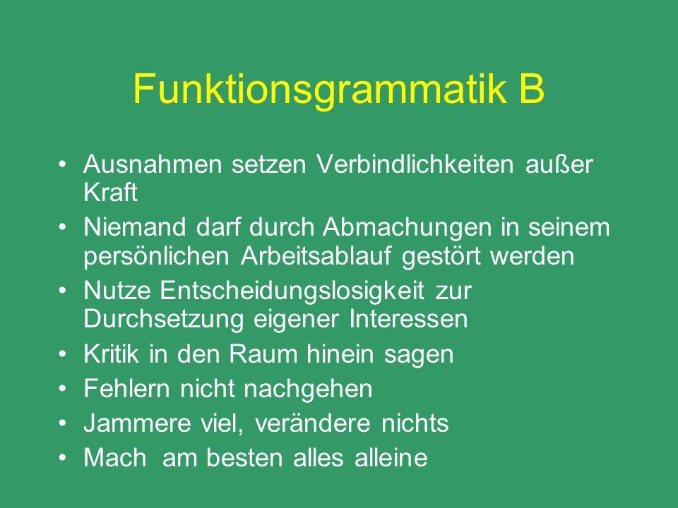 Funktionsgrammatik B Ausnahmen setzen Verbindlichkeiten außer Kraft