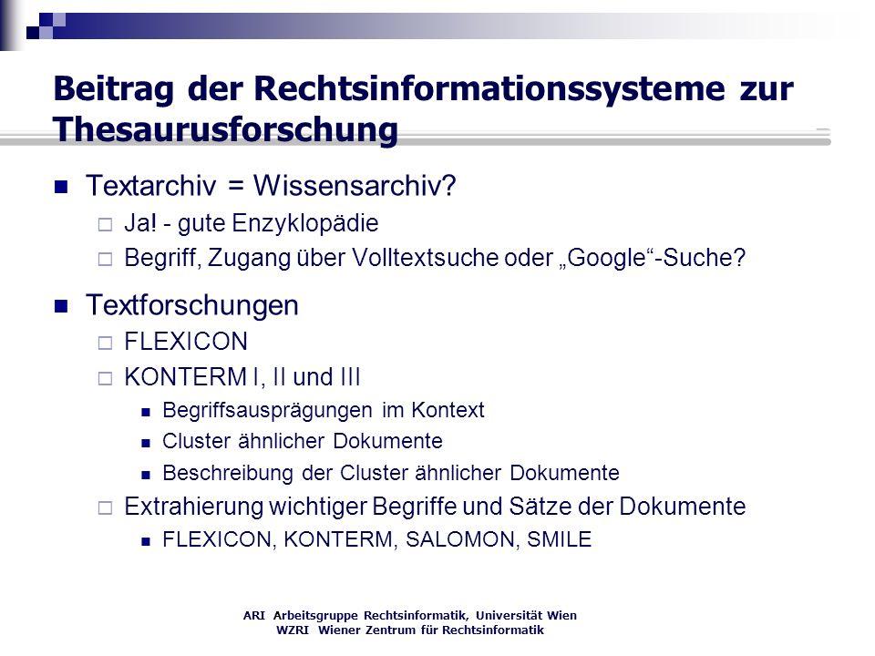 Beitrag der Rechtsinformationssysteme zur Thesaurusforschung