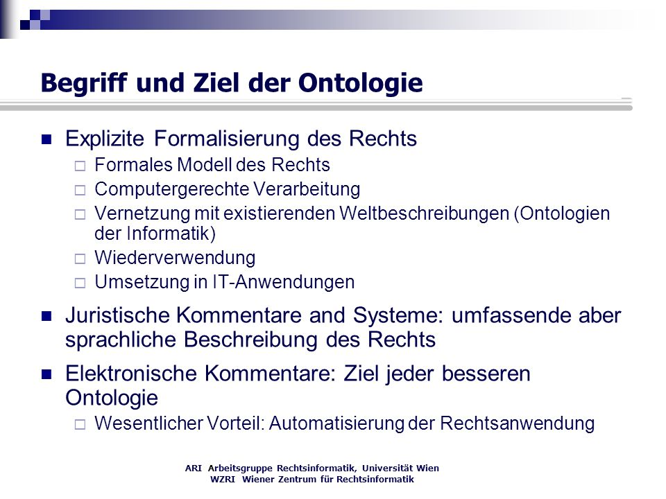 Begriff und Ziel der Ontologie
