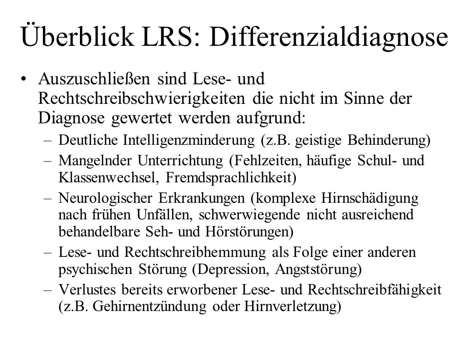Überblick LRS: Differenzialdiagnose