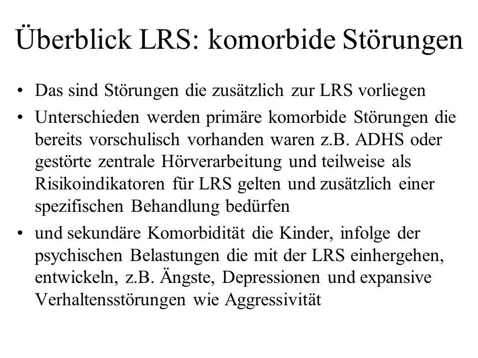Überblick LRS: komorbide Störungen