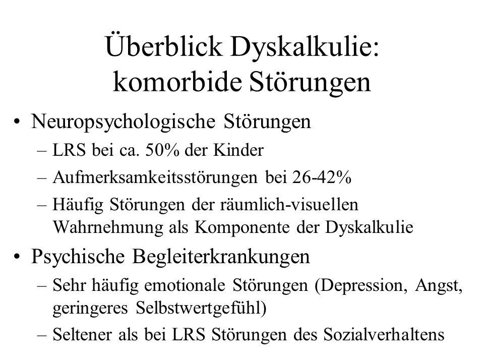 Überblick Dyskalkulie: komorbide Störungen