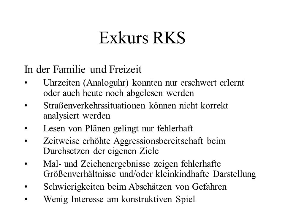 Exkurs RKS In der Familie und Freizeit