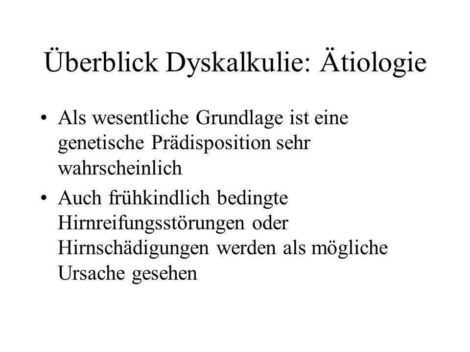 Überblick Dyskalkulie: Ätiologie