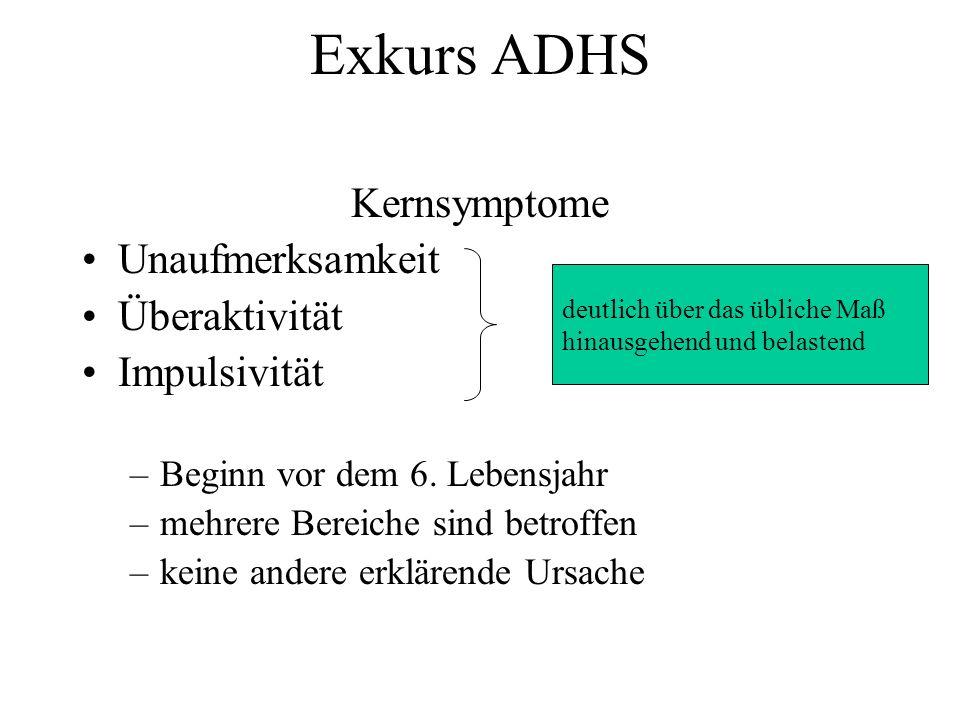 Exkurs ADHS Kernsymptome Unaufmerksamkeit Überaktivität Impulsivität