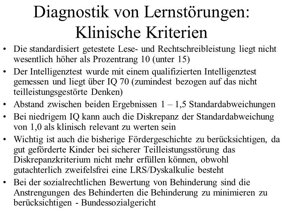 Diagnostik von Lernstörungen: Klinische Kriterien