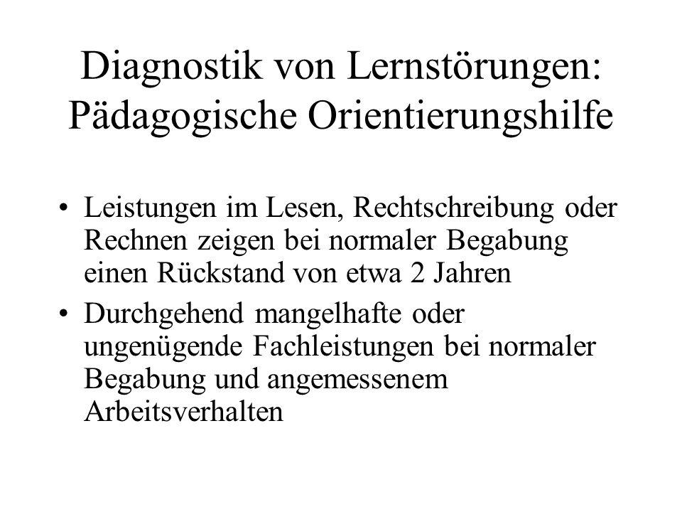 Diagnostik von Lernstörungen: Pädagogische Orientierungshilfe
