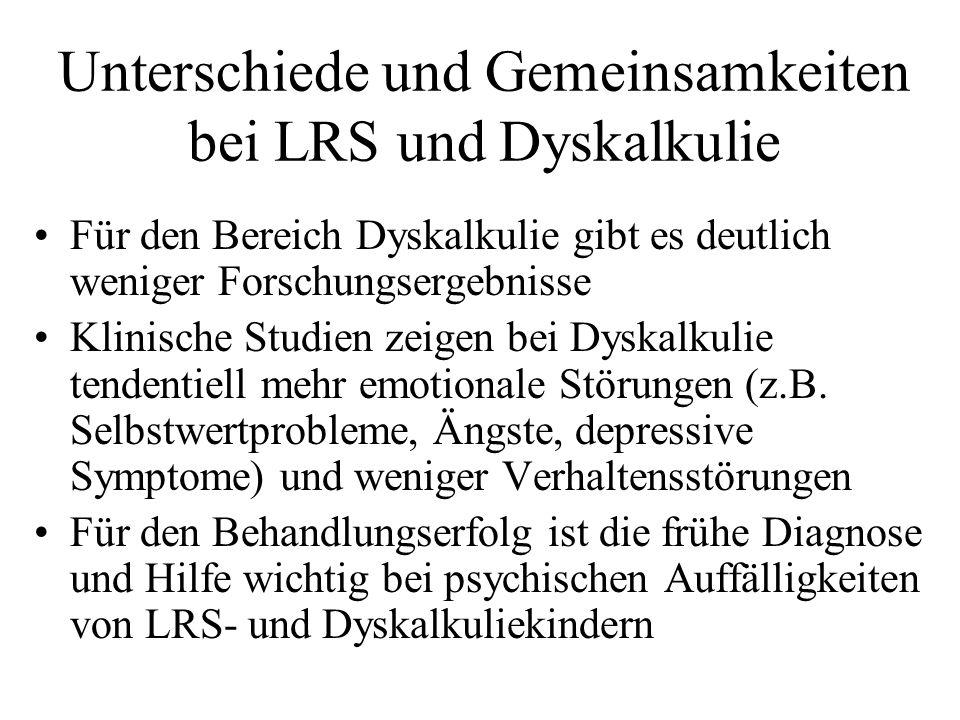 Unterschiede und Gemeinsamkeiten bei LRS und Dyskalkulie