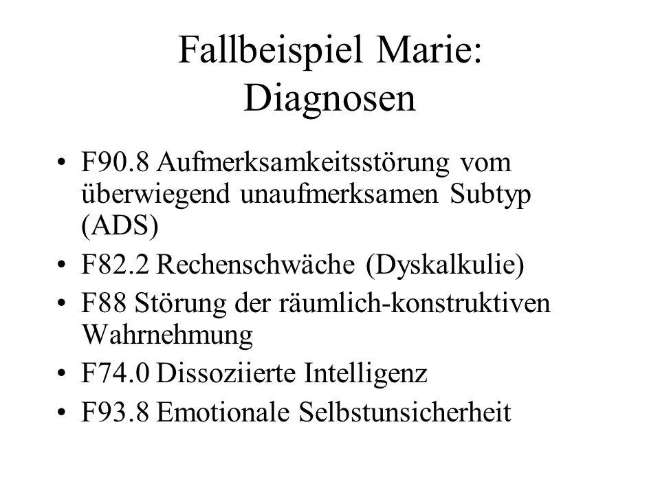 Fallbeispiel Marie: Diagnosen
