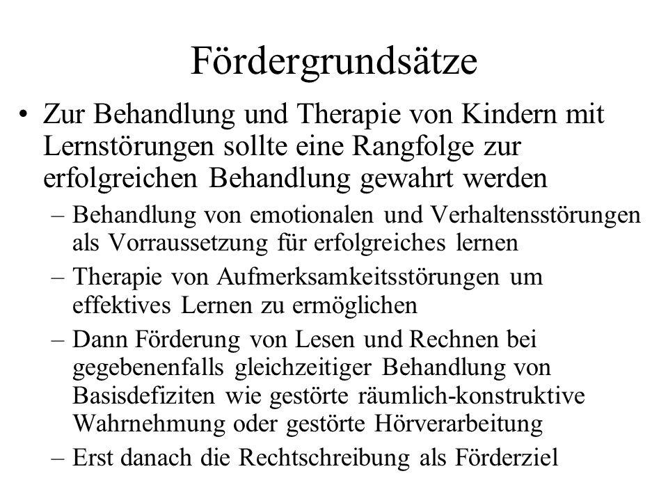 FördergrundsätzeZur Behandlung und Therapie von Kindern mit Lernstörungen sollte eine Rangfolge zur erfolgreichen Behandlung gewahrt werden.